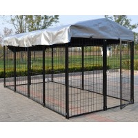 Fiveberry Magbean Modular Heavy Duty Dog Kennel Welded Steel Panel Pet Cover 4' W x 8' L x 4' H New
