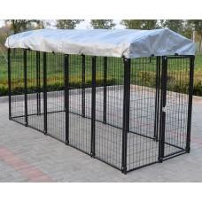 Fiveberry Magbean Modular Heavy Duty Dog Kennel Welded Steel Panel Pet Cover 4' W x 10' L x 5.5' H New