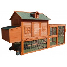 """Fiveberry Magbean 98"""" Wheel Solid Wood Chicken Coop Backyard Hen House 4-6 Chickens with Nesting Box"""
