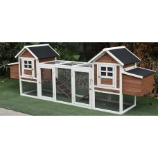 """Fiveberry Magbean 123"""" Large Solid Wood Chicken Coop Backyard Hen House 4-6 Chickens with 4 Nesting Boxes"""