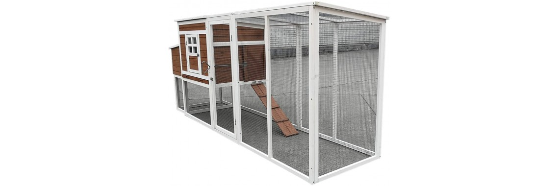 Large Wood Chicken Coop  4-6 Chickens Run with Nesting Box