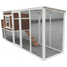 """Fiveberry Magbean 98"""" Large Wood Chicken Coop Backyard Hen House 4-6 Chickens Run with Nesting Box"""